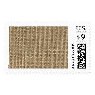 Natural Beige Tan Jute Burlap-Rustic Cabin Wedding Stamp