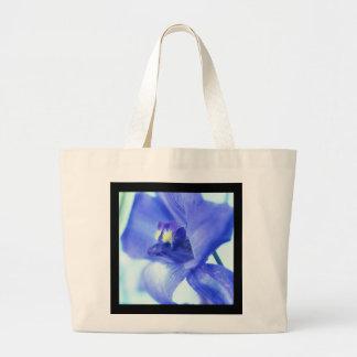 Natural/Black Canvas Tote w/ Blue Floral Design Jumbo Tote Bag