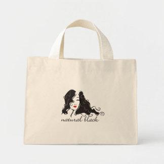 Natural black mini tote bag