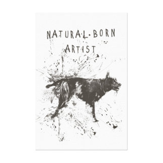 natural born artist (black and white) canvas print