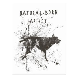 natural born artist (black and white) postcard