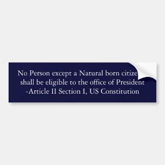 Natural born citizen bumper sticker
