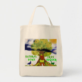 Natural born tree hugger tote bag