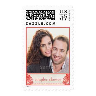 Natural Botanical Rose Couples Shower Custom Photo Postage