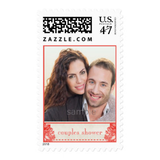 Natural Botanical Rose Couples Shower Custom Photo Stamp