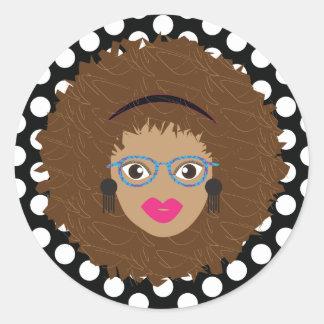 Natural Brown Hair Glam Dot Print Classic Round Sticker
