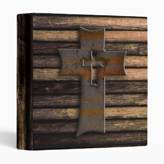 Natural Brown Wooden Cross 3 Ring Binder