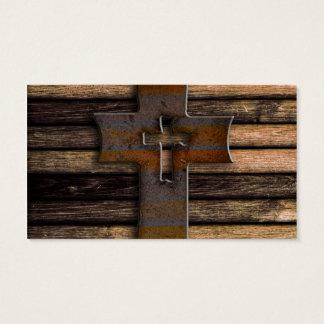 Natural Brown Wooden Cross Business Card
