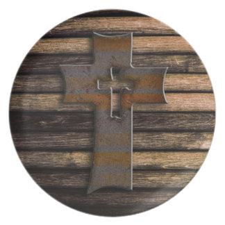 Natural Brown Wooden Cross Dinner Plate