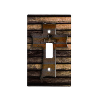 Natural Brown Wooden Cross Light Switch Covers