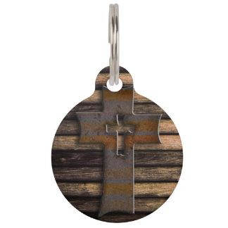 Natural Brown Wooden Cross Pet Name Tag