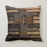 Natural Brown Wooden Cross Pillow
