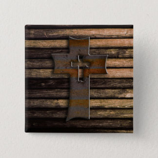 Natural Brown Wooden Cross Pinback Button