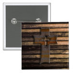 Natural Brown Wooden Cross Pinback Button