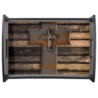 Natural Brown Wooden Cross Serving Platters