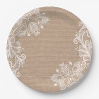 Natural Burlap and Lace Floral Paper Plate