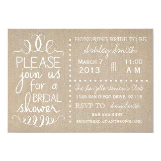 "Natural Burlap Bridal Invitation 5"" X 7"" Invitation Card"