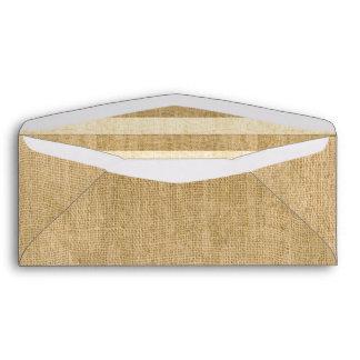 Natural Burlap With Burlap Stripes Inside #10 Envelope