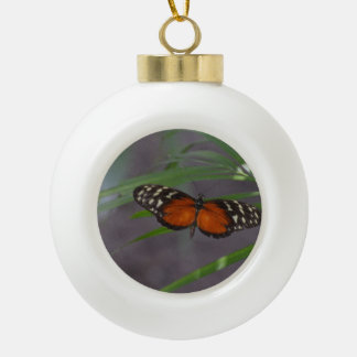 Natural Butterfly Ceramic Ball Christmas Ornament