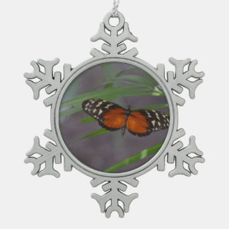 Natural Butterfly Snowflake Pewter Christmas Ornament