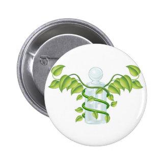 Natural caduceus bottle concept pinback buttons