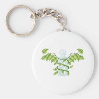 Natural caduceus bottle concept keychains