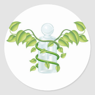 Natural caduceus bottle concept round sticker
