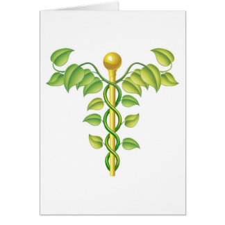 Natural caduceus concept greeting card