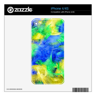 Natural carnival feathers boa skin for the iPhone 4