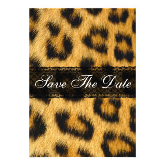 Natural Cheetah Print Save The Date Notice Personalized Invitations