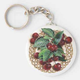 Natural Circle Celtic Knot with Cherries Artwork. Basic Round Button Keychain
