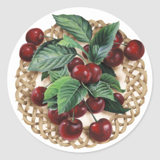 Natural Circle Celtic Knot with Cherries Artwork. Round Stickers