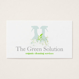 Natural Cleaning Service Spray Bottle Logo Business Card