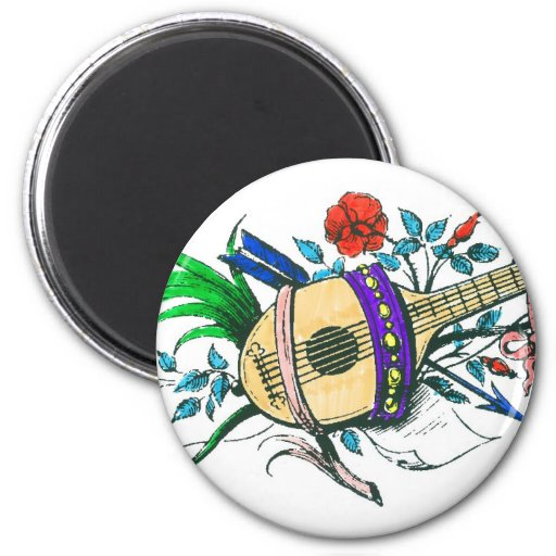 Natural colored lute and plants fridge magnets