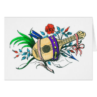 Natural colored lute and plants greeting card