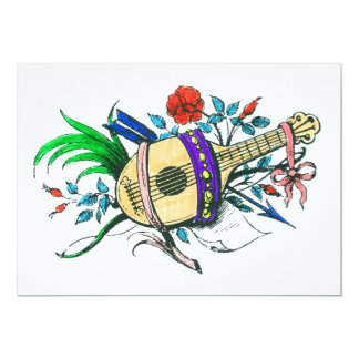 Natural colored lute and plants personalized invitation