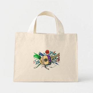 Natural colored lute and plants mini tote bag