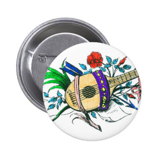 Natural colored lute and plants pinback buttons