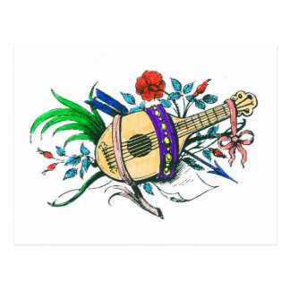 Natural colored lute and plants post card