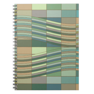 Natural Colors Wavy Rectangles Spiral Note Book