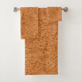 Natural Cork Look Wood Grain Bath Towel Set