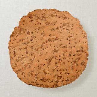 Natural Cork Look Wood Grain Round Pillow