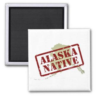 Natural de Alaska sellado en mapa Imán Cuadrado