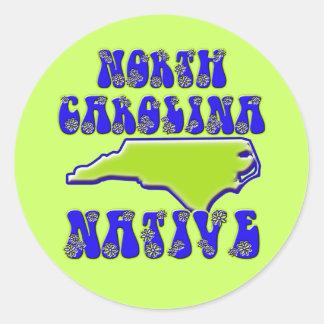 Natural de Carolina del Norte Pegatina Redonda