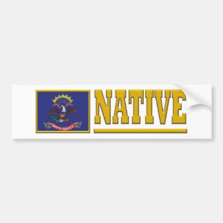 Natural de Dakota del Norte Pegatina De Parachoque