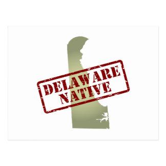 Natural de Delaware sellado en mapa Postal
