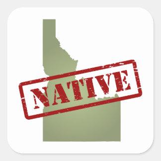 Natural de Idaho con el mapa de Idaho Pegatina Cuadrada