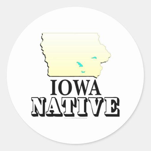 Natural de Iowa Pegatina Redonda