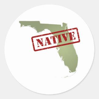 Natural de la Florida con el mapa de la Florida Pegatina Redonda