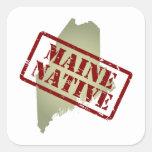 Natural de Maine sellado en mapa Pegatinas Cuadradas Personalizadas